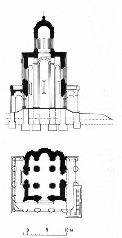 Разрез и план церкви Покрова